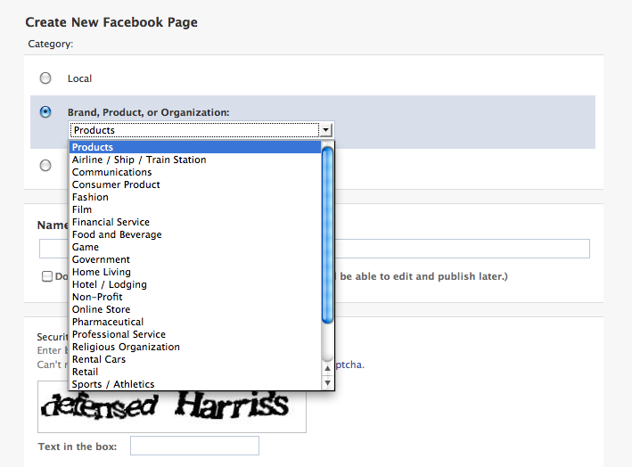 select your facebook page type