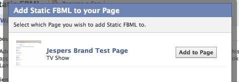 Select a Facebook Page to add your Applications