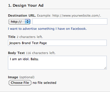 Design Facebook Ad for a Web page