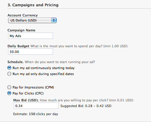 Facebook Payment CPC or CPM
