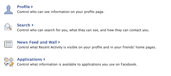 Select your different privacy settings on Facebook