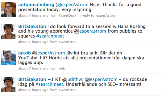 Tweets on my session from Searchmeet 2009