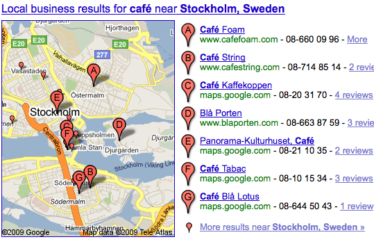 image of local business locator from Google