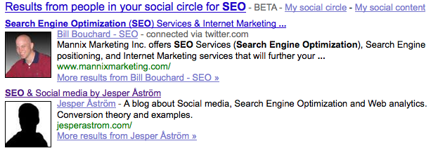 First lesson on Social search optimization in Google