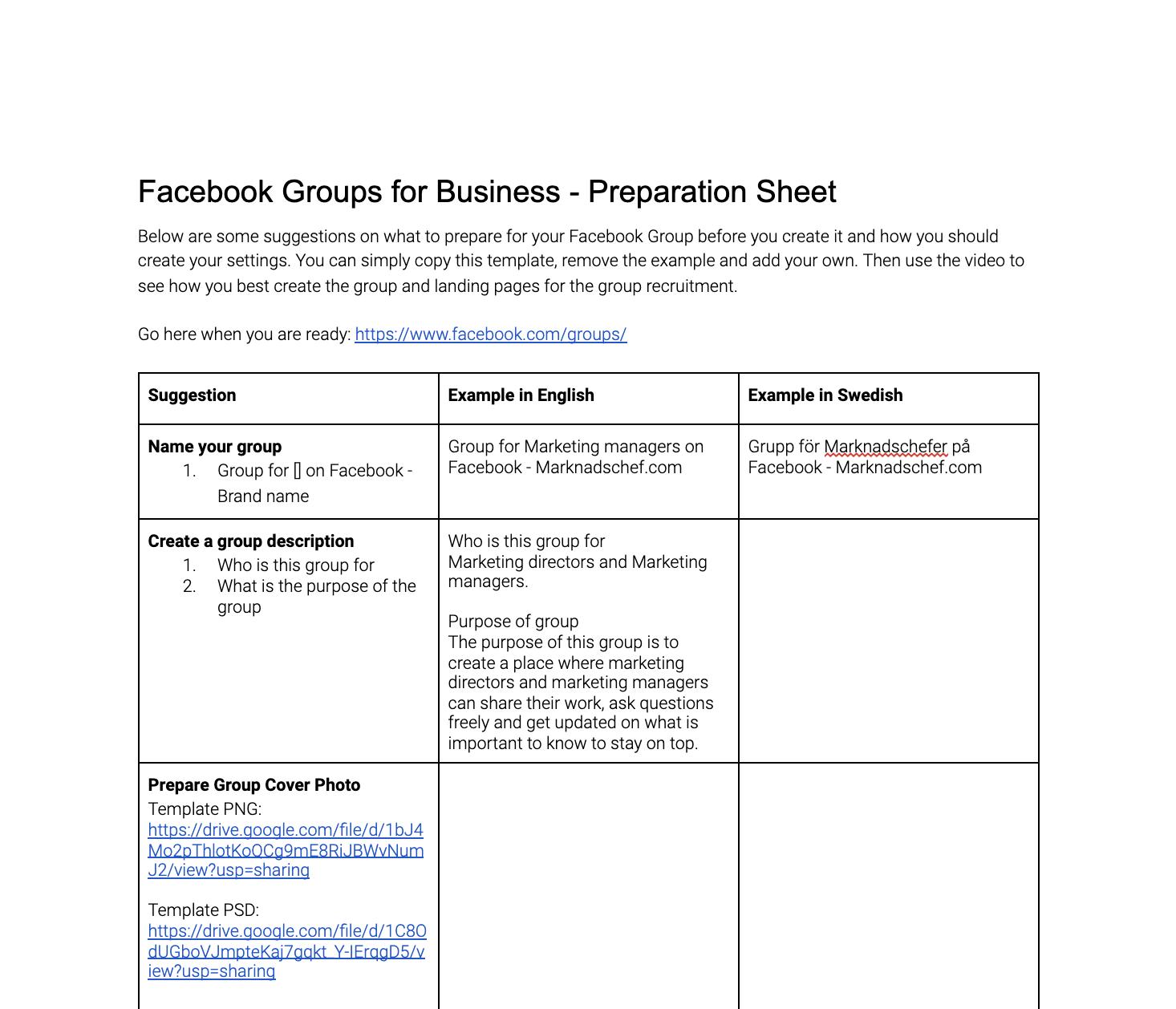 Facebook Group preparation template