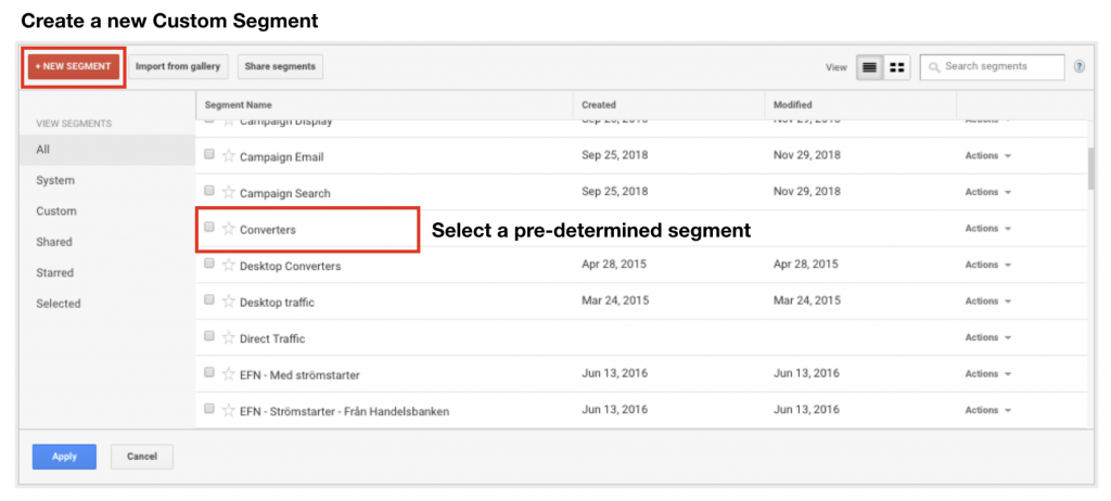 Image that shows how to Create a Custom Segment or Select a pre-determined segment