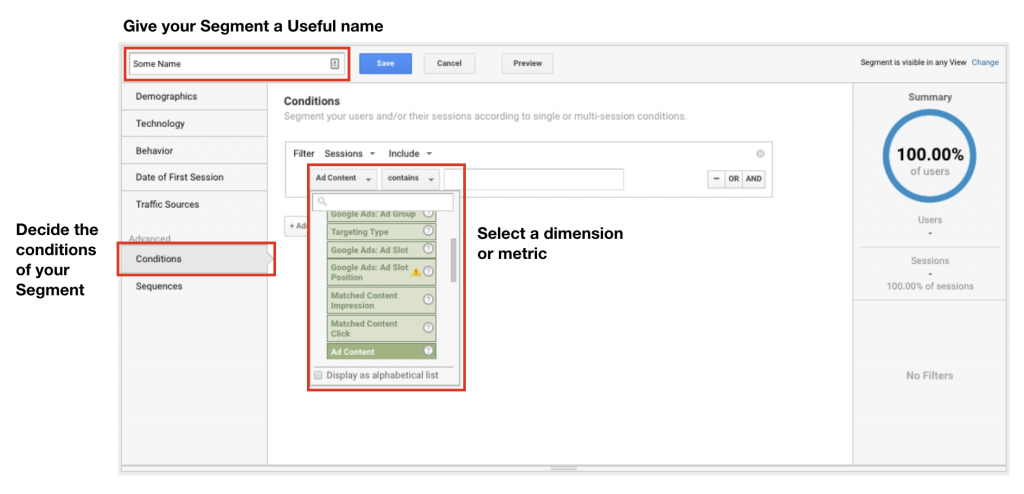 Image of how to create your custom segments in Google Analytics